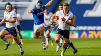 Huw Jones scores for Scotland in a Try of the Round contender