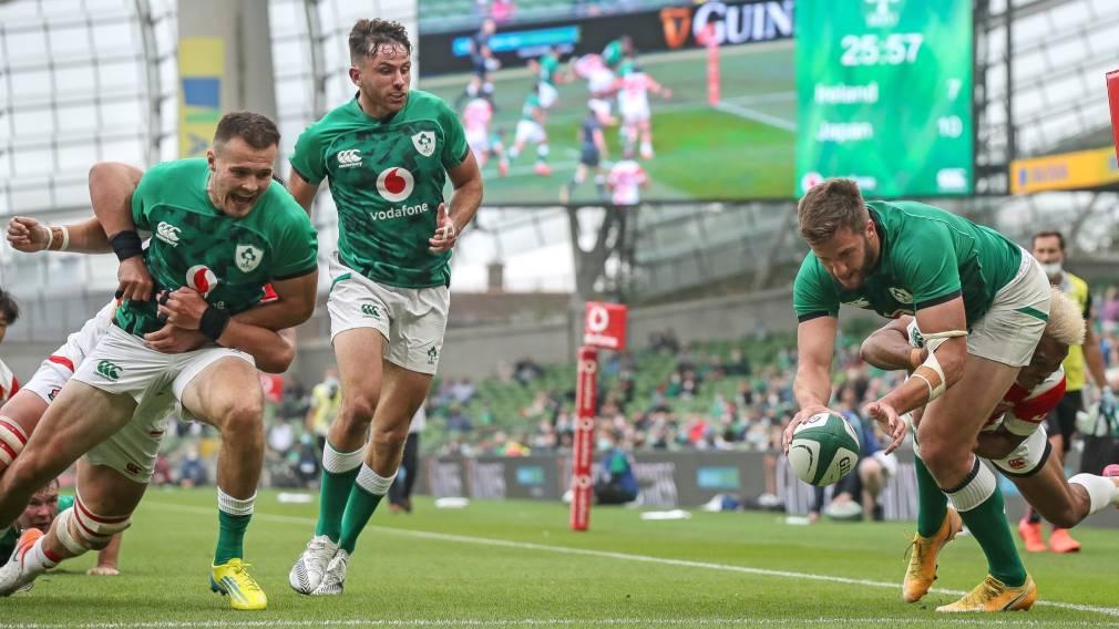 Stuart McCloskey try against Japan