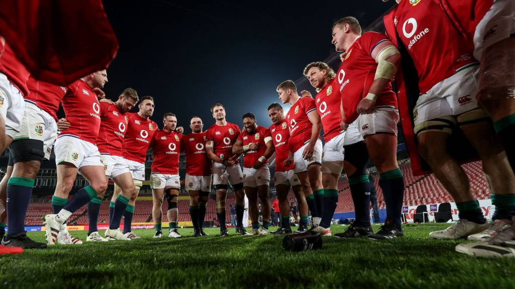 A view of the British Irish Lions team huddle after the game