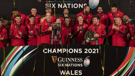 The Wales team are presented with the Guinness Six Nations trophy