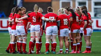 The Wales team huddle